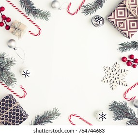 Christmas decorations over white background/ Flat lay, top view