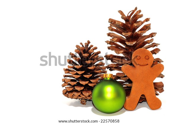 Christmas Decorations with Pine Cones and Gingerbread Men