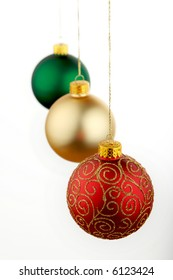 Christmas decorations red gold and green
