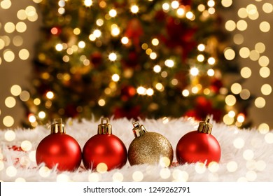 Christmas decorations red and golden balls on snow holiday card template - Shutterstock ID 1249262791