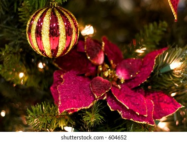 christmas decorations (red poinsettia and christmas) ornament