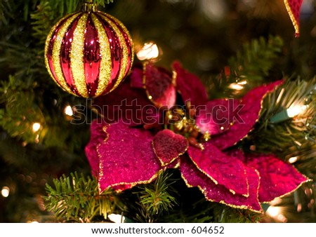 christmas decorations red poinsettia and christmas ornament