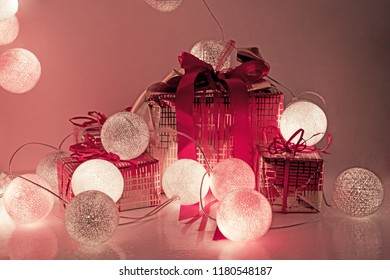 Christmas decorations. Round electric Christmas lights with some decor elements.