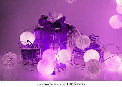 Christmas decorations. Round electric Christmas lights with some decor elements. Horizontal banner.