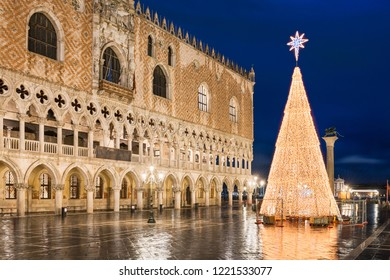 Christmas decorations at the San Marco square in Venice, Italy