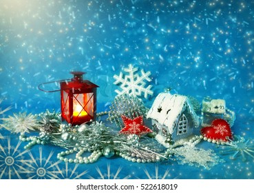 Christmas decorations and snow. Winter holidays