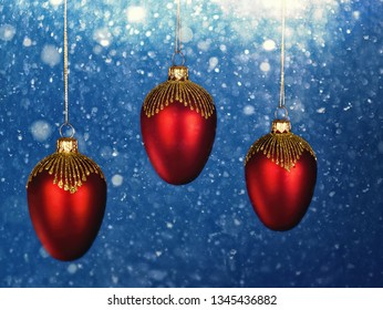 Christmas decorations with snowfall as backgrounds. Holidays wallpapers