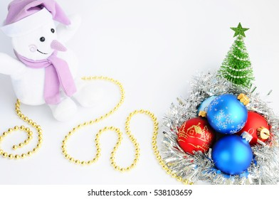 Christmas decorations and snowman on a white background.