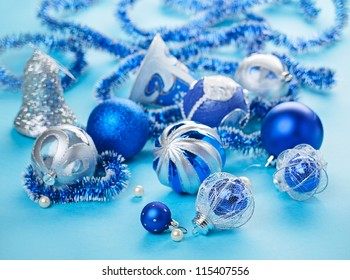 Christmas decorations still life in blue tones