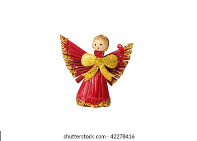 Christmas decorations - straw red angel isolated on white background