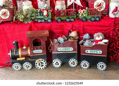 Christmas decorations of a toy train at a Christmas gift shop.