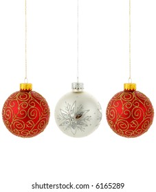 Christmas decorations two red one silver 3 total