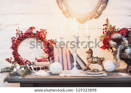 christmas decorations with vintage wooden horse