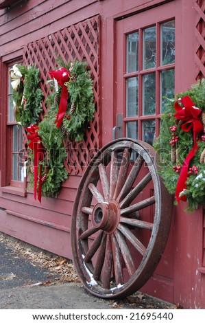 Christmas Decorations Wagon Wheel Lightly Falling Stock Photo Edit