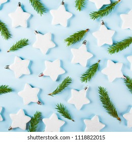 Christmas decorations, white stars with tree branches