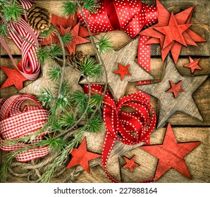 christmas decorations wooden stars and red ribbons nostalgic retro style picture dark designed image