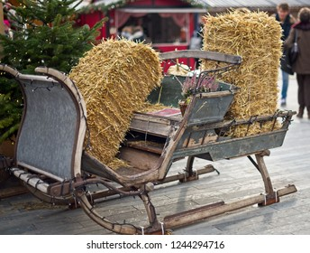 Christmas decoration,sled of Santa Claus with haystack