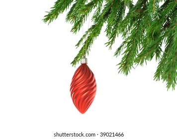 christmas decorative red toy on fir branch  isolated on white