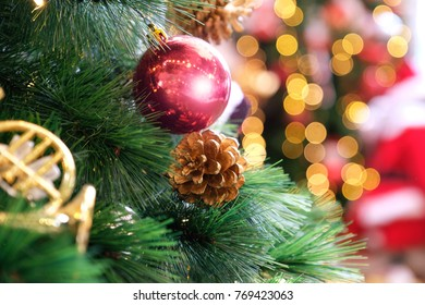 Christmas decorative with christmas tree  for background