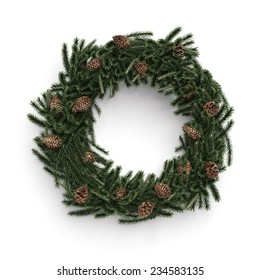 Christmas decorative wreath with cones