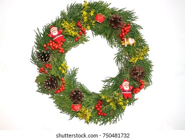 Christmas decorative wreath  with ornament isolated on white background