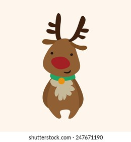 Christmas deer flat icon elements background