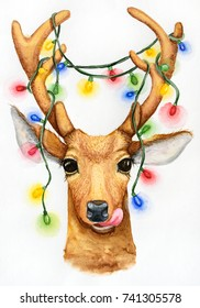 Christmas deer with a garland illustration. Watercolor drawing.