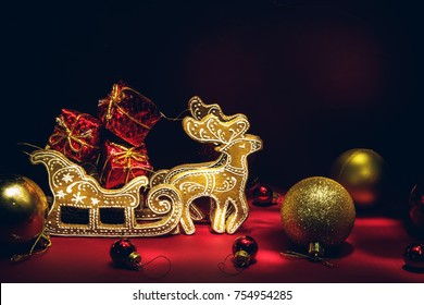 Christmas deer on a red background. New Year and Christmas decor.