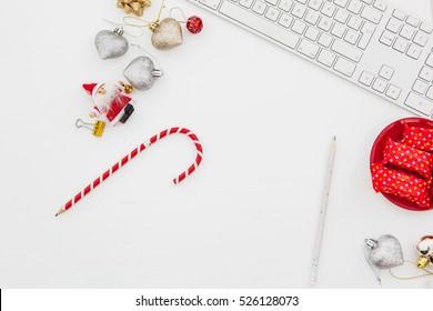 christmas desk.Computer  keyboard.Top view