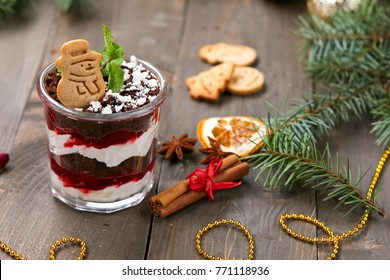 Christmas dessert with cookie