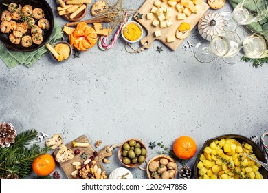 Christmas dinner background with party table, holiday vegeterian food concept, top view, flat lay with copy space.