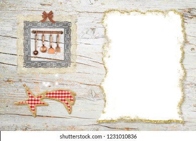 Christmas dinner menu background.Star of Bethlehem and cute kitchen utensils with a blank paper to write menu or recipes