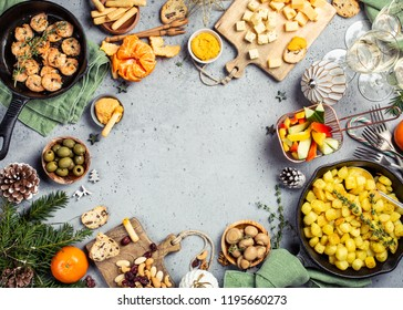 Christmas dinner party table, holiday vegeterian food concept background, top view, flat lay with copy space.