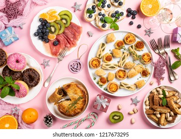 Christmas dinner party table, holiday food concept background, top view, flat lay