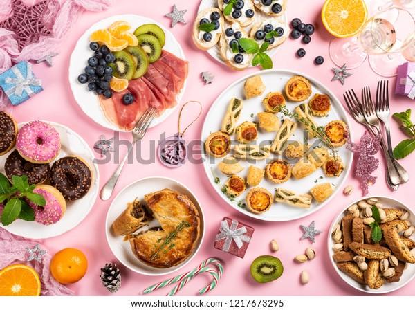 Christmas Dinner Party.Christmas Dinner Party Table Holiday Food Stock Photo Edit