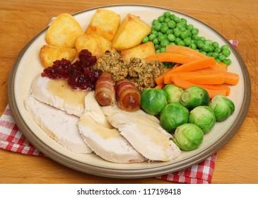 Christmas dinner of roast turkey with vegetables.