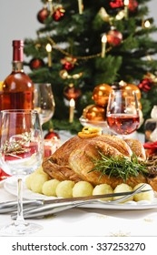 Christmas dinner, roasted turkey and christmas decoration