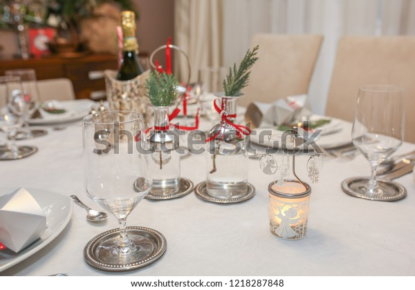 Christmas Dinner Table Decorations Home Design Stock Photo