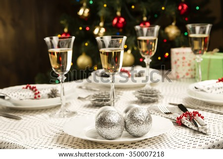 christmas dinner table traditional christmas decorations served table in a restaurant beautifully set - Christmas Dinner Decorations