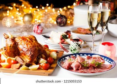 Christmas dinner white table
