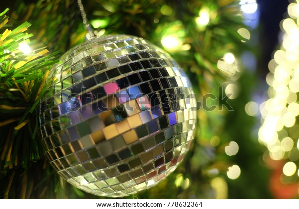 Christmas Disco Ball.Christmas Disco Ball Decorating On Branch Stock Photo Edit