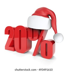 christmas discount sale collection with Santa's hat - 20%, 3D rendering