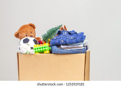 Christmas donation box with toys, books, clothing for charity