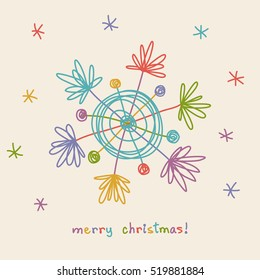 Christmas doodle snowflake. Festive card. Original elegant simple element. Abstract decorative illustration in child's hand drawn style for print, web