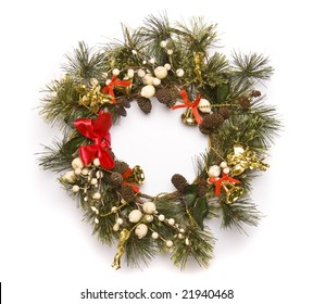 christmas door decoration isolated on the white background