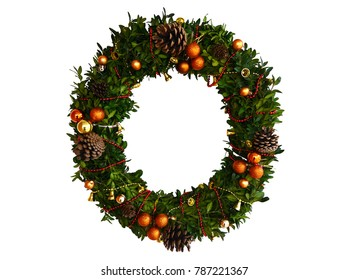 Christmas door wreath made of boxwood, decorated with bells, balls, beads and cones. Isolated.