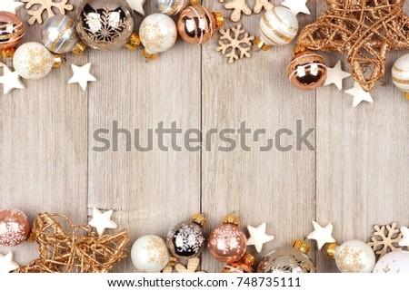 Christmas double border white gold ornaments stock photo edit now