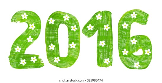 The Christmas drawn by green paints with white blossomn form of inscriptions, 2016 numbers, isolated on white