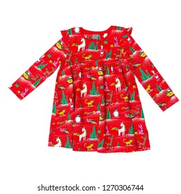 Christmas dress for a girl with long sleeves isolated on a white background/ Top view/ Flat lay
