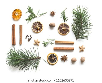 Christmas drink mulled wine. Ingredients of a hot delicious drink. Christmas or New Year. Flat lay, top view, copy space,